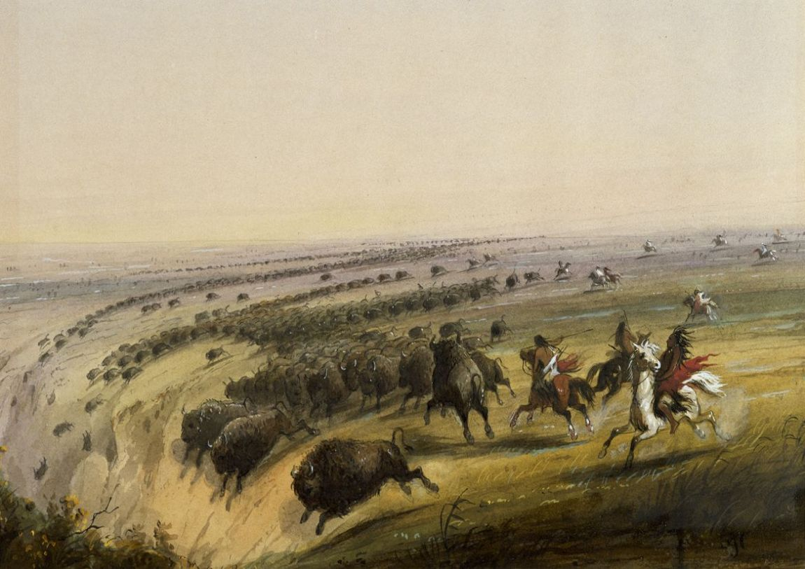 Miller, Alfred Jacob: Hunting Buffalo. Fine Art Print/Poster. Sizes: A4/A3/A2/A1 (003829)